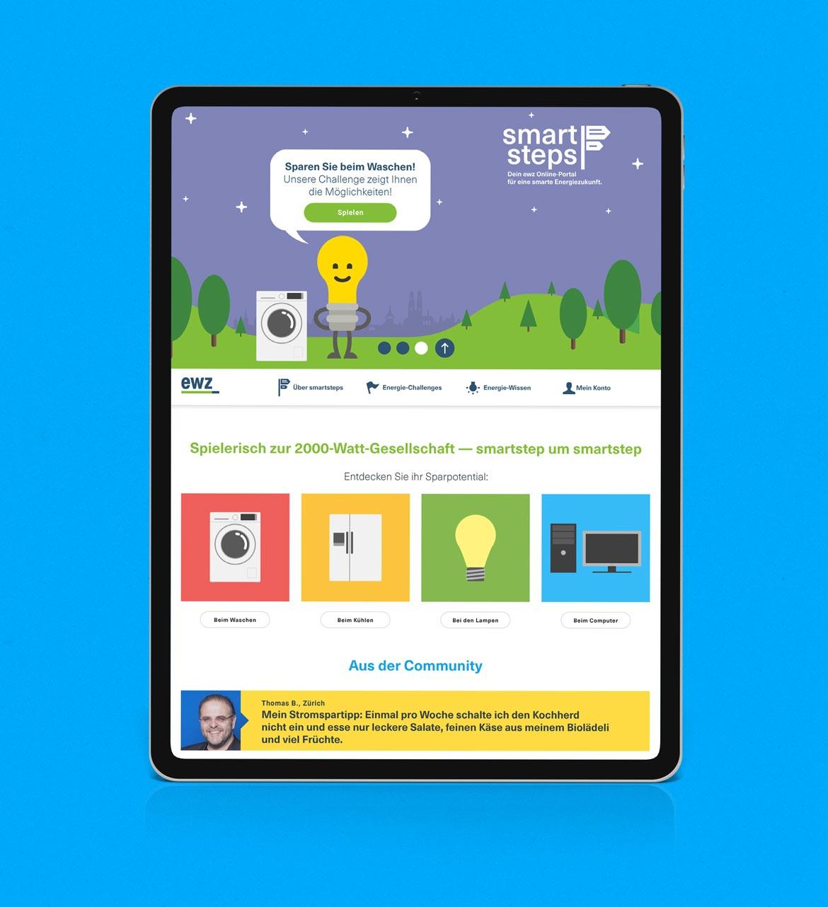 EWZ Smart Steps Startseite Tag
